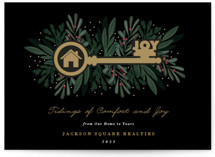 This is a black business holiday card by Oma N. Ramkhelawan called Joyful Home with standard printing on signature in standard.