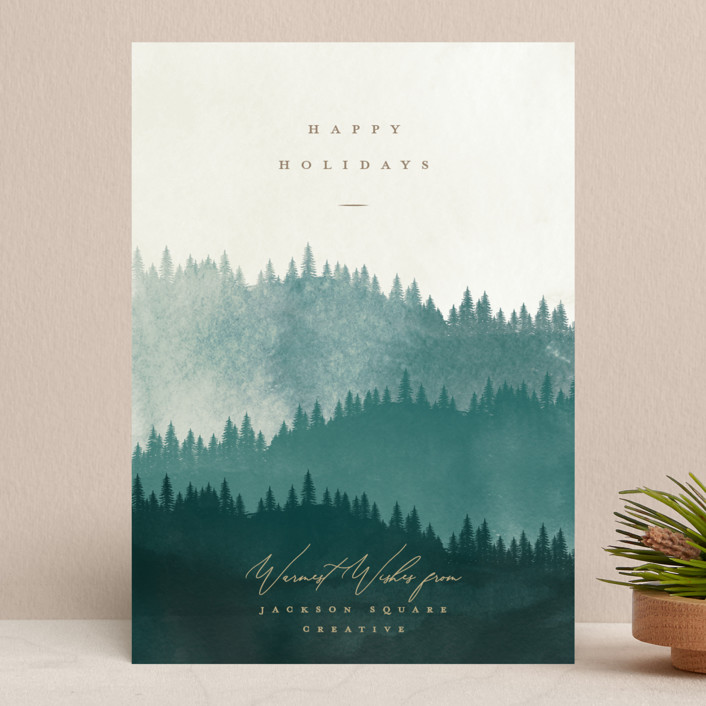 """Wooded Hills"" - Bohemian Business Holiday Cards in Forest by Robert and Stella."