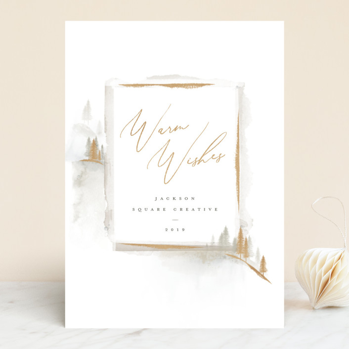 """""""Moody Mountain"""" - Bohemian Business Holiday Cards in Honey by Robert and Stella."""