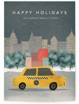 This is a blue business holiday card by Creo Study called City Sidewalk with standard printing on signature in standard.
