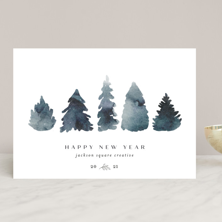 """""""Watercolor Trees"""" - Business Holiday Cards in Indigo by Calluna Fine Paper."""