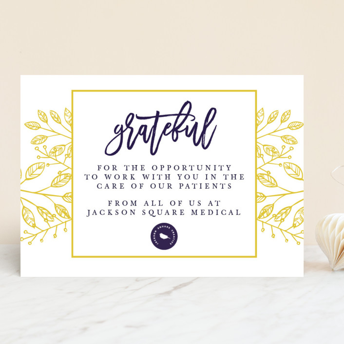 """Grateful"" - Business Holiday Cards in Candied Lemon by Heidi Lee Miller."