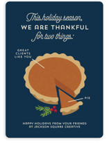 This is a blue business holiday card by Holly Whitcomb called Pie Chart with standard printing on signature in standard.