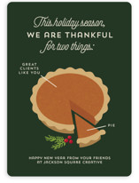 This is a green business holiday card by Holly Whitcomb called Pie Chart with standard printing on signature in standard.