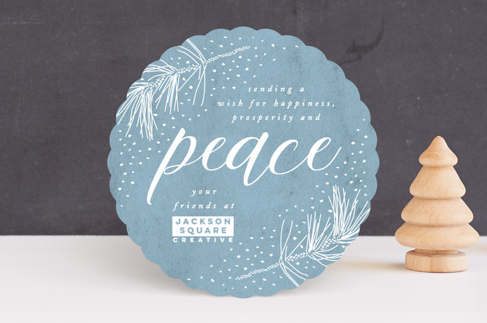 """""""Snowy Peace"""" - Bohemian Business Holiday Cards in Sky by Owl and Toad."""