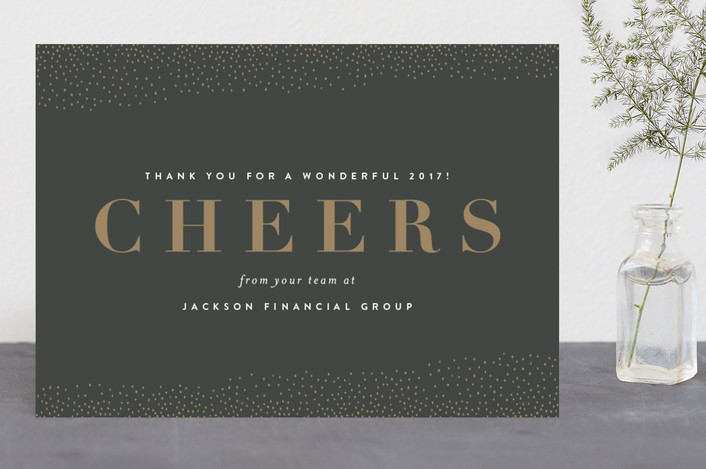 """""""Cheers to You"""" - Business Holiday Cards in Midnight by Sara Hicks Malone."""