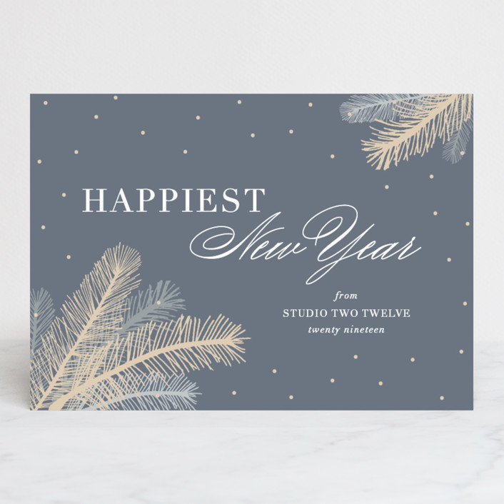 """""""Chic Botanical"""" - Business Holiday Cards in Slate by Kaydi Bishop."""