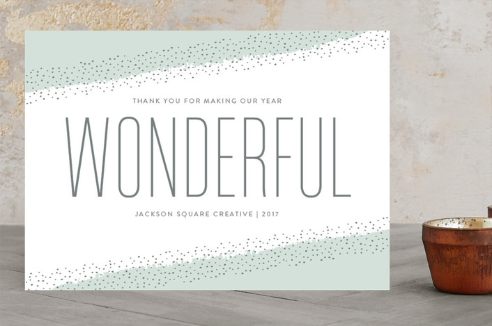 """""""Wonderful Year"""" - Business Holiday Cards in Powder by Sarah Guse Brown."""