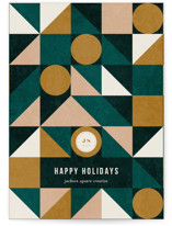 This is a green business holiday card by Iveta Angelova called Geo Christmas Tree with standard printing on signature in standard.