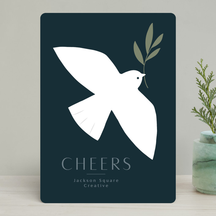 """Modern Dove"" - Bohemian Business Holiday Cards in Midnight by Kacey Kendrick Wagner."