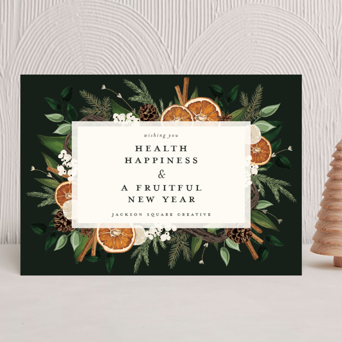 """""""Fruitful Holiday"""" - Business Holiday Cards in Midnight by Susan Moyal."""