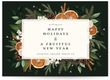 This is a black business holiday card by Susan Moyal called Fruitful Holiday with standard printing on signature in standard.