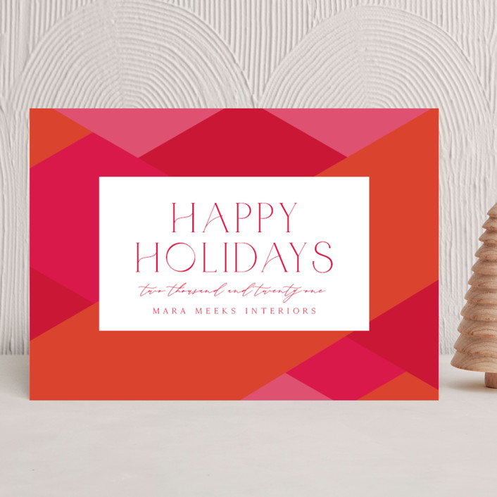 """""""Bright Geometrics"""" - Vintage Business Holiday Cards in Punch by Olivia Raufman."""