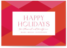 This is a pink business holiday card by Olivia Raufman called Bright Geometrics with standard printing on signature in standard.