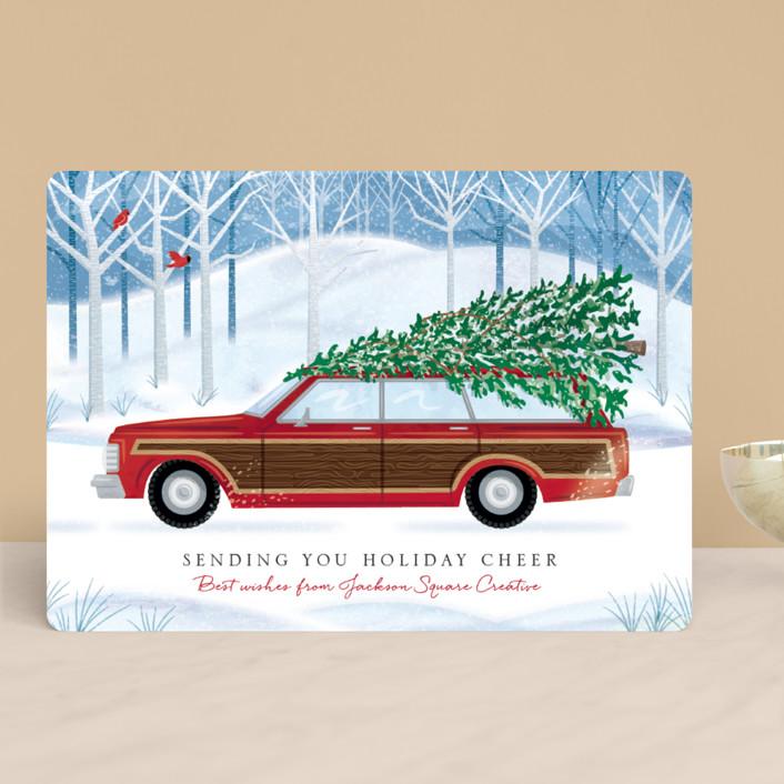 """""""Country Squire"""" - Business Holiday Cards in Cardinal by Paper Sun Studio."""