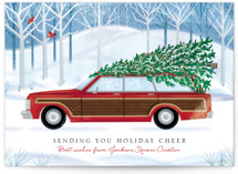This is a red business holiday card by Paper Sun Studio called Country Squire with standard printing on signature in standard.