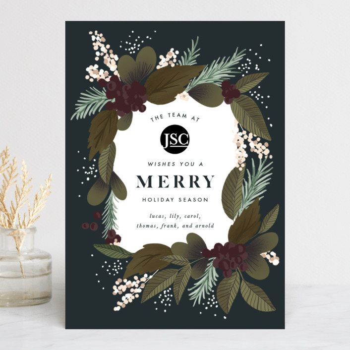 """Holiday Bouquet"" - Business Holiday Cards in Midnight by Leah Bisch."