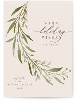 This is a green business holiday card by Melanie Kosuge called Laurel with standard printing on signature in standard.