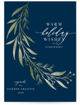 This is a blue business holiday card by Melanie Kosuge called Laurel with standard printing on signature in standard.