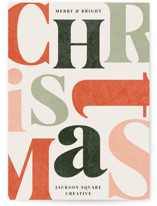 This is a orange business holiday card by Iveta Angelova called Scrambled Letters with standard printing on signature in standard.