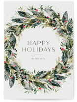 This is a green business holiday card by Jackie Crawford called Watercolor festive wreath with standard printing on signature in standard.