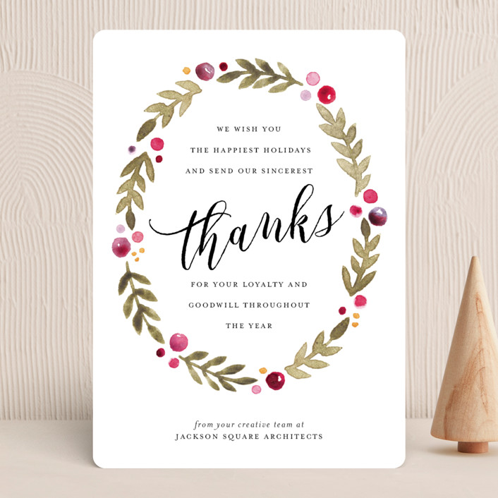 """""""Leaf + Berries"""" - Business Holiday Cards in Cranberry by Three Kisses Studio."""