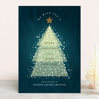 Glowing Christmas Tree Business Holiday Cards