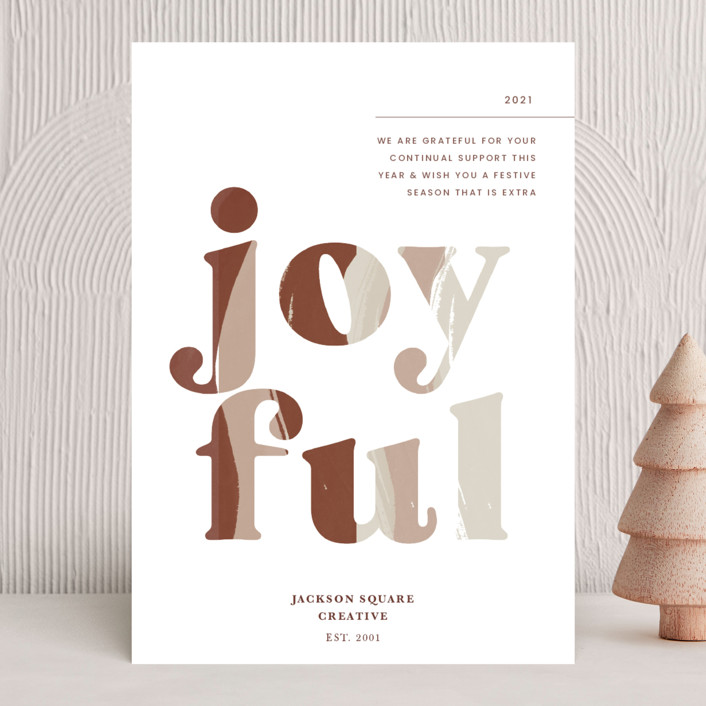 """""""Joyful"""" - Business Holiday Cards in Port Wine by Blustery August."""