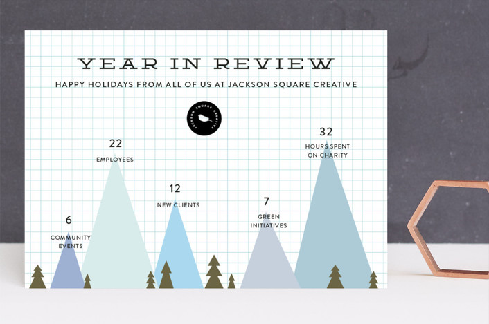 """""""Winter Peaks"""" - Modern Business Holiday Cards in Glacier by Becca Thongkham."""
