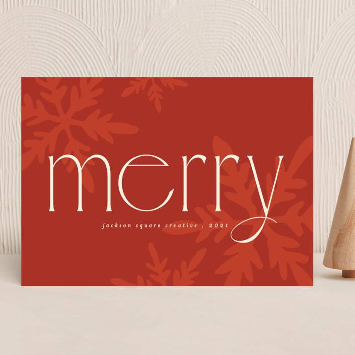 """""""Snowflakes"""" - Vintage Business Holiday Cards in Poinsettia by Morgan Kendall."""