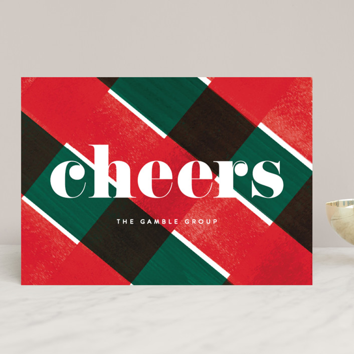 """""""Holiday Plaid"""" - Modern Business Holiday Cards in Mistletoe by Baumbirdy."""