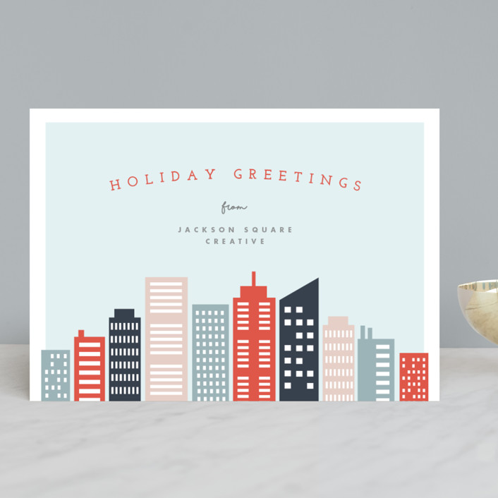 """City Holiday"" - Modern Business Holiday Cards in Pumpkin by Pixel and Hank."