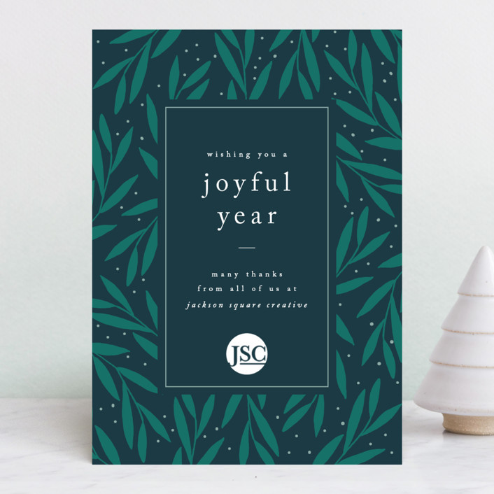 """Joyous Leaves"" - Business Holiday Cards in Forest by Kelly Schmidt."