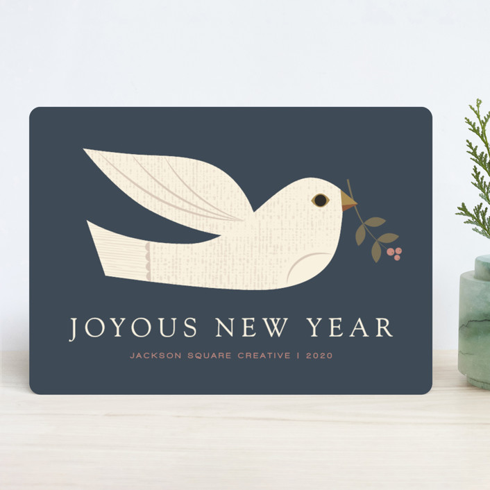 """textured dove"" - Bohemian Business Holiday Cards in Midnight by Shannon Hays."