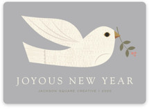 This is a grey business holiday card by Shannon Hays called textured dove with standard printing on signature in standard.