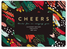 This is a green business holiday card by Maria Alou called Cheers & Art with standard printing on signature in standard.