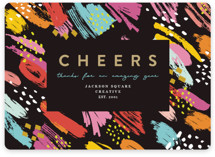 This is a orange business holiday card by Maria Alou called Cheers & Art with standard printing on signature in standard.