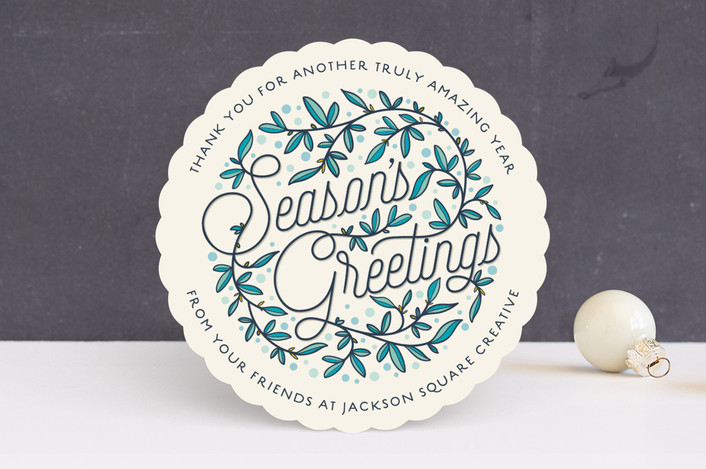 """""""Winter Branches"""" - Vintage Business Holiday Cards in Winter Blue by GeekInk Design."""