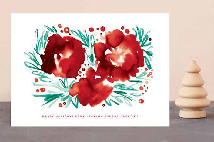 """Watery Poinsettia"" - Bohemian Business Holiday Cards in Rose by Simona Cavallaro."