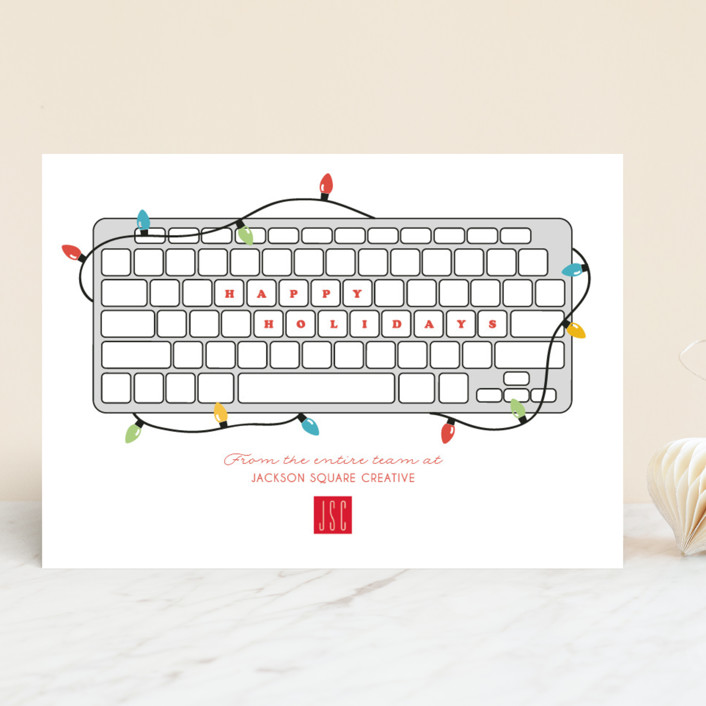 """Keyboard Greetings"" - Funny Business Holiday Cards in Cardinal by Korry Brown."