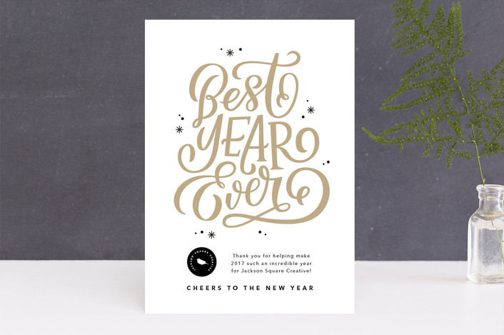 """""""Best Year Ever"""" - Business Holiday Cards in Latte by Kristen Smith."""