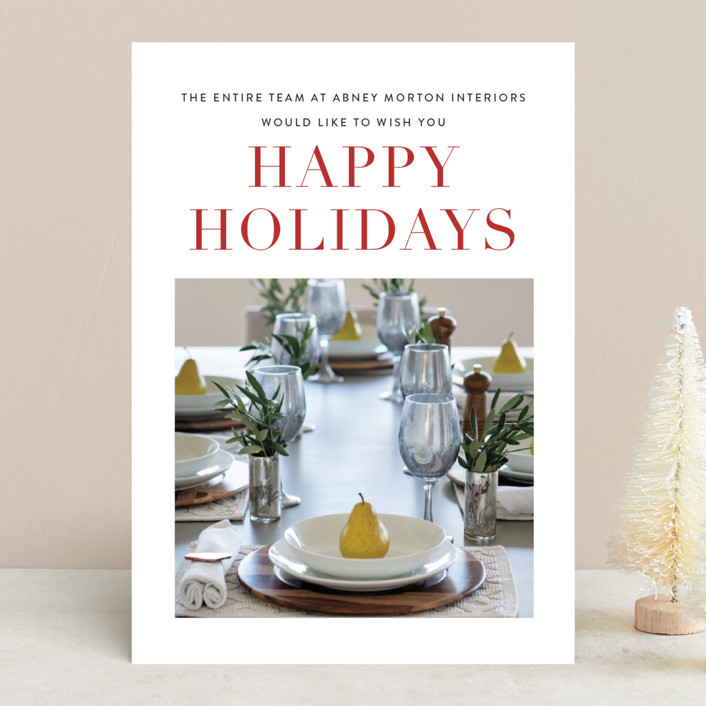 """""""Simple Greetings"""" - Business Holiday Cards in Holly Berry by Sara Hicks Malone."""