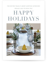 This is a blue business holiday card by Sara Hicks Malone called Simple Greetings with standard printing on smooth signature in standard.