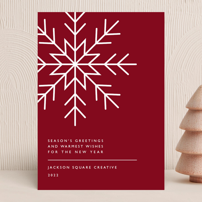 """""""Snowflake Wishes"""" - Vintage Business Holiday Cards in Cranberry by Heather Schertzer."""