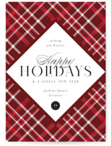 This is a red business holiday card by Melanie Kosuge called Tartan with standard printing on signature in standard.