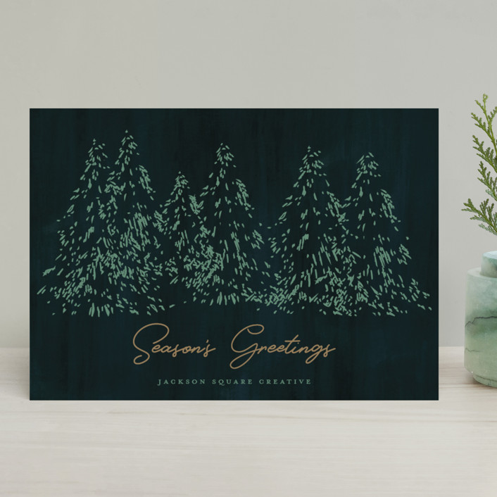 """""""Evergreens"""" - Business Holiday Cards in Fir by Tennie and Co.."""