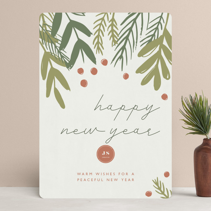 """""""Dark Greenery"""" - Business Holiday Cards in Ash by Betsy Siber."""