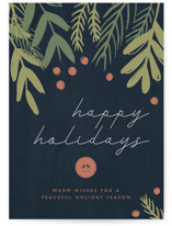 This is a blue business holiday card by Betsy Siber called Dark Greenery with standard printing on signature in standard.