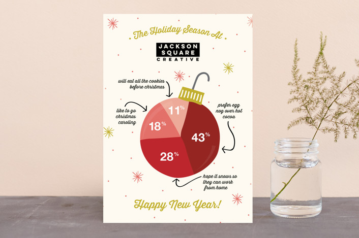 """Infographic Ornament"" - Business Holiday Cards in Cinnamon by Beth Schneider."