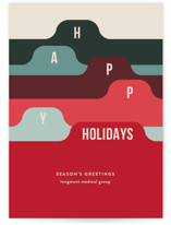 This is a red business holiday card by Shari Margolin called Filed with standard printing on signature in standard.